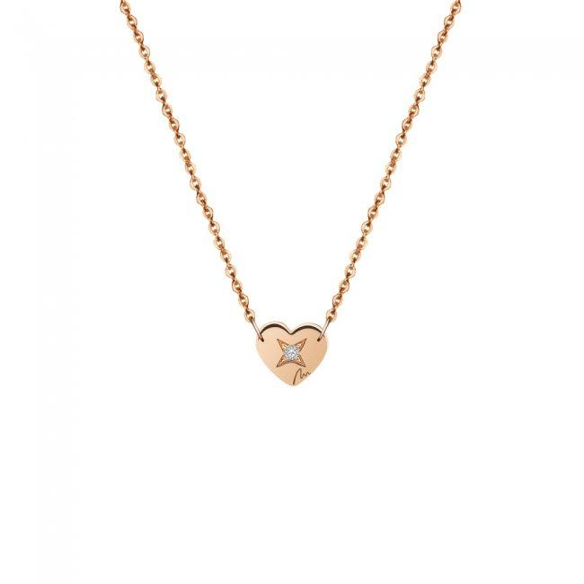 Lantisor Inima 7 mm, cu 1 diamant alb, din aur roz