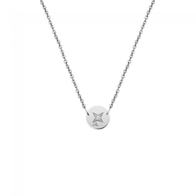 Lantisor Banut 7 mm, cu 1 diamant alb, din aur alb