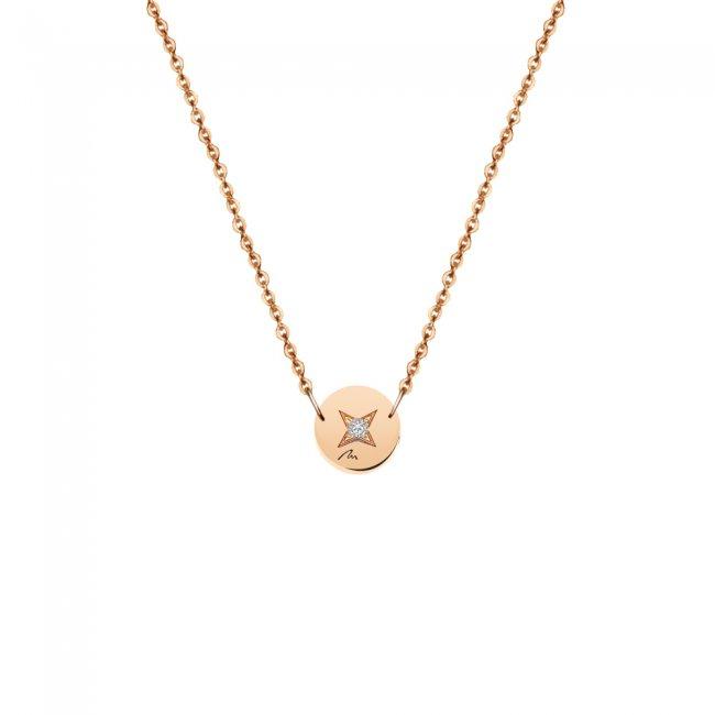 Lantisor Banut 7 mm, cu 1 diamant alb, din aur roz