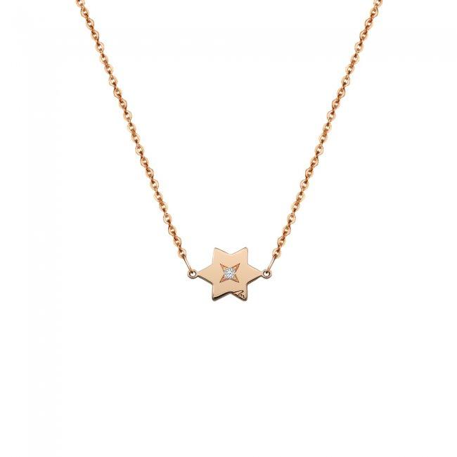 Lantisor Stea, cu 1 diamant alb, din aur roz