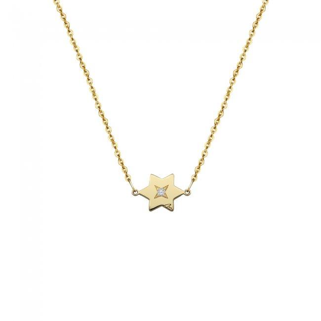 Lantisor Stea, cu 1 diamant alb, din aur galben