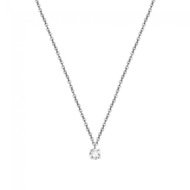 Lantisor cu 1 diamant alb, din aur alb