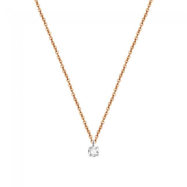 Lantisor cu 1 diamant alb, din aur roz