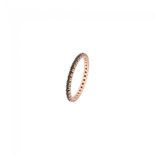 Inel Tennis, din aur roz, cu diamante negre