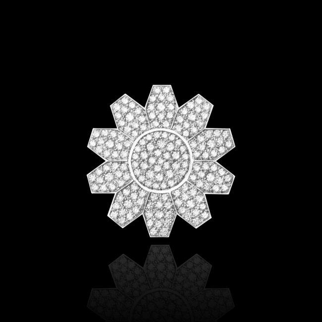 Brosa Infinity Crown Pave, din aur alb de 18 kt, cu diamante albe