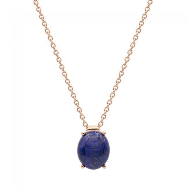 Lant din aur roz de 9 kt cu piatra Lapis Lazuli