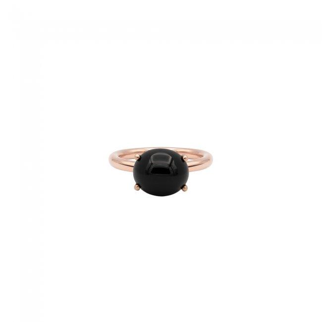 Inel din aur roz de 9 kt cu piatra Onix