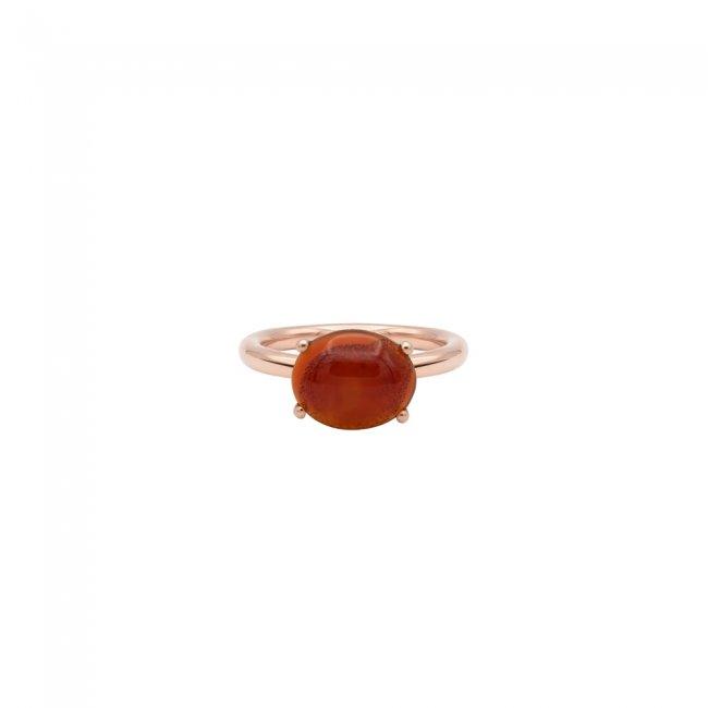 Inel din aur roz de 9 kt cu piatra Corniola