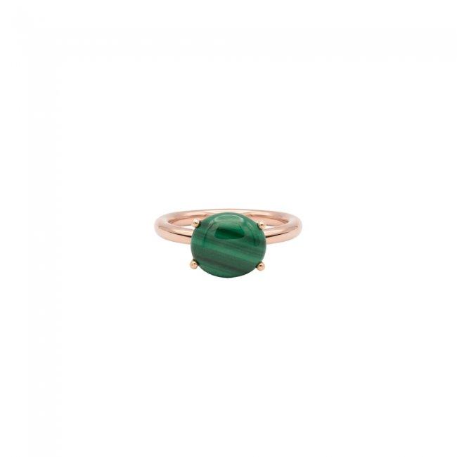Inel din aur roz de 9 kt cu piatra Malachit