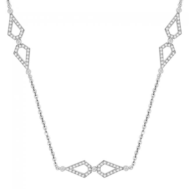 Colier Infinity Princess, din aur alb de 18 kt, cu diamante albe