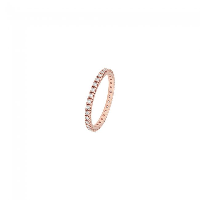 Inel Tennis, din aur roz, cu diamante albe
