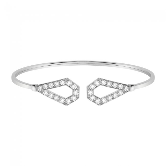 Bratara fixa Infinity Monaco, din aur alb de 18 kt, cu diamante albe