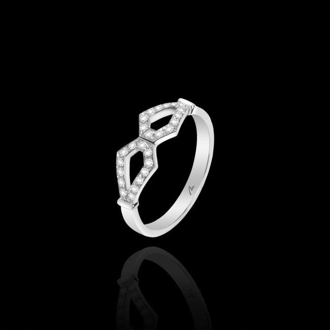 Inel Infinity Princess, din aur alb de 18 kt, cu diamante albe