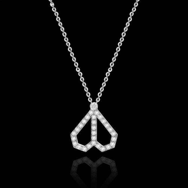 Colier Infinity Cuore, din aur alb de 18 kt, cu diamante albe