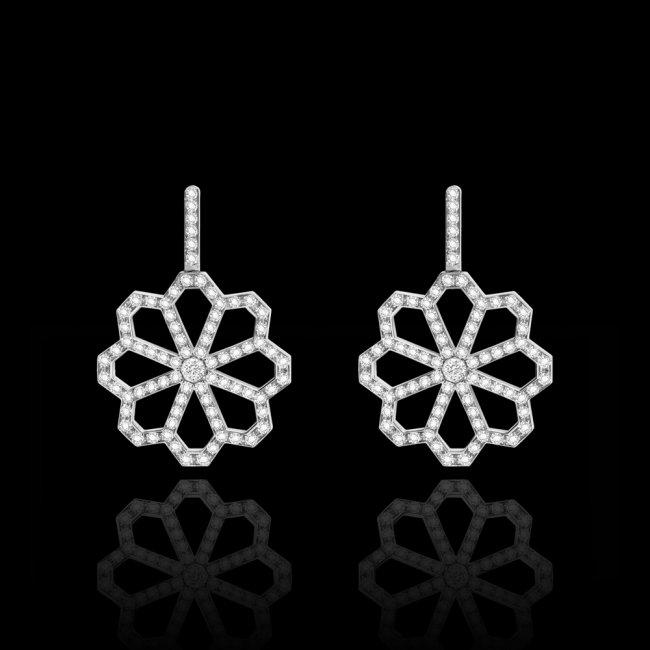 Cercei Infinity Croisette, din aur alb de 18 kt, cu diamante albe