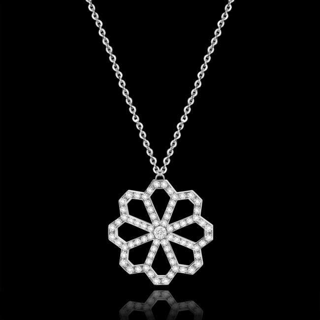 Colier Infinity Croisette, din aur alb de 18 kt, cu diamante albe