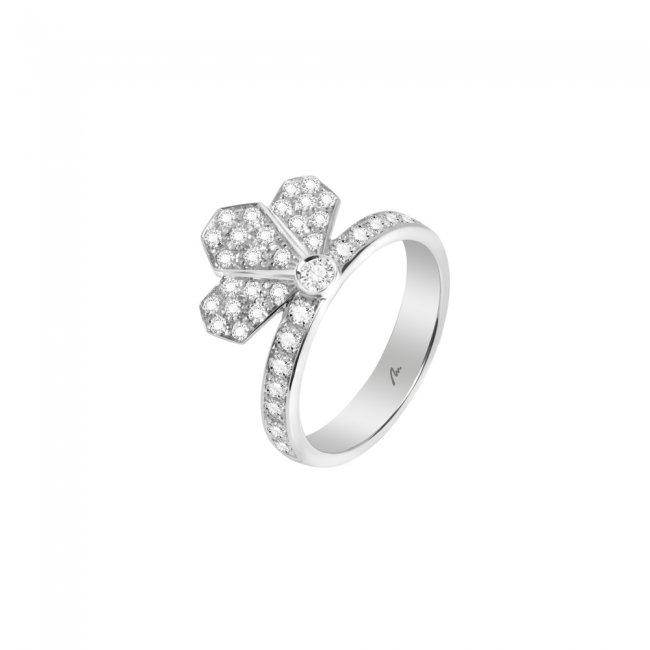 Inel Infinity Crown Pave, din aur alb de 18 kt, cu diamante albe