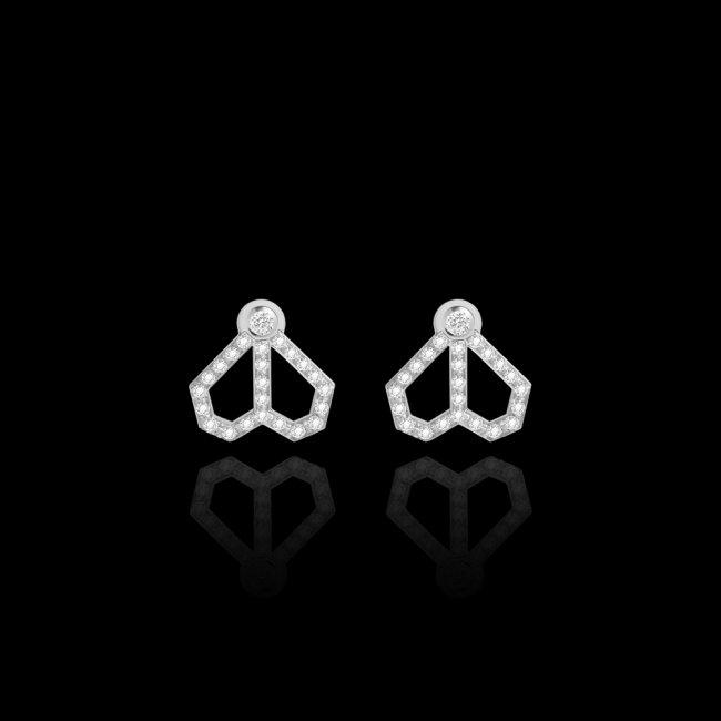 Cercei Infinity Cuore, din aur alb de 18 kt, cu dimante albe