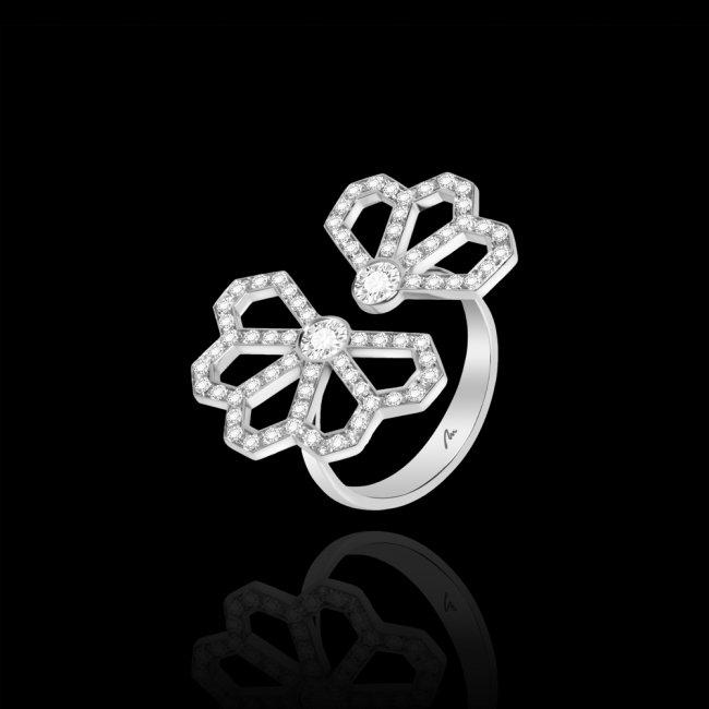 Inel Infinity Monte Carlo, din aur alb de 18 kt, cu diamante albe