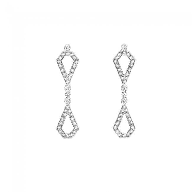 Cercei Infinity Princess, din aur alb de 18 kt, cu diamante albe