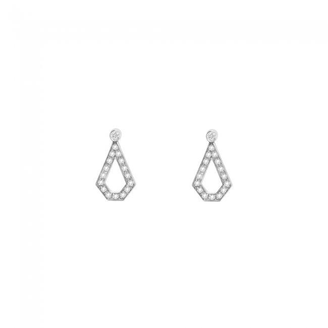 Cercei Infinity Monte Carlo cu 1 petala, din aur alb de 18 kt, cu diamante albe