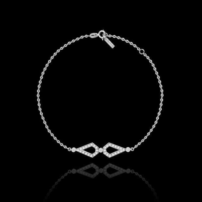 Bratara Infinity Monaco, din aur alb de 18 kt, cu diamante albe