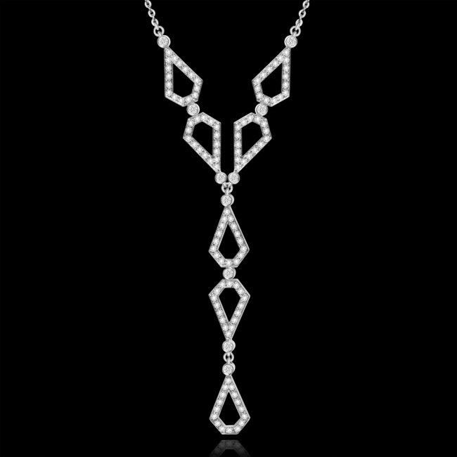 Colier Infinity Bridal V, din aur alb de 18 kt, cu diamante albe