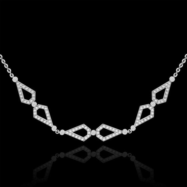 Colier Infinity Bridal, din aur alb de 18 kt, cu diamante albe