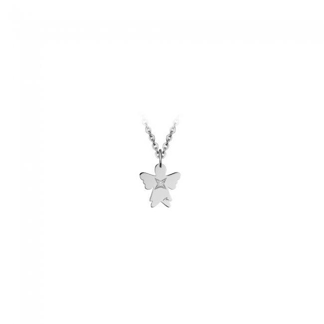 Pandantiv Ingeras, cu 1 diamant alb, cu anou, din aur alb