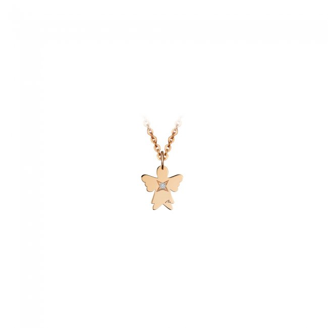 Pandantiv Ingeras, cu 1 diamant alb, cu anou, din aur roz