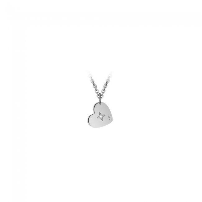 Pandantiv Inima, cu 1 diamant alb, cu anou, din aur alb