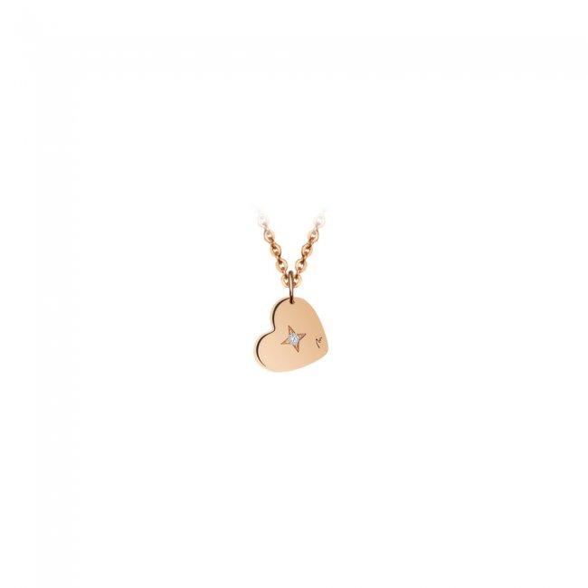 Pandantiv Inima, cu 1 diamant alb, cu anou, din aur roz