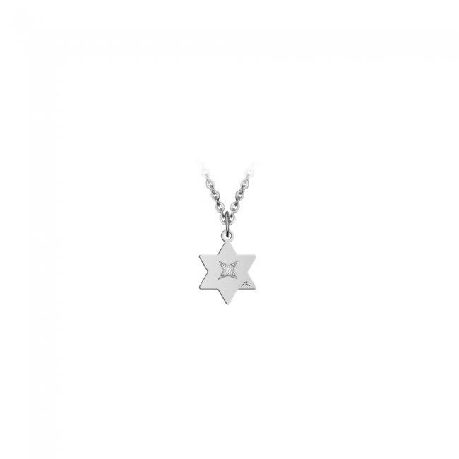 Pandantiv Stea, cu 1 diamant alb, cu anou, din aur alb