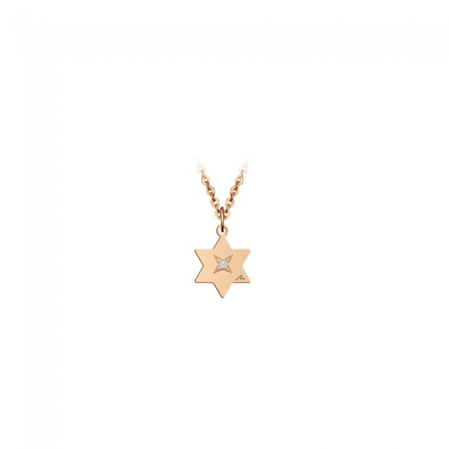 Pandantiv Stea, cu 1 diamant alb, cu anou, din aur roz