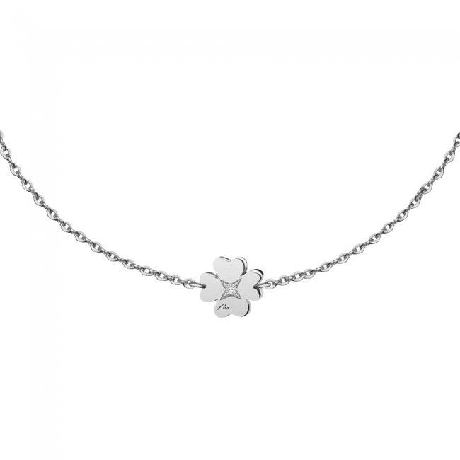 Bratara pe lant Trifoi S, din aur alb, cu diamant alb