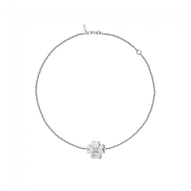 Bratara pe lant Trifoi, din aur alb, cu diamant alb