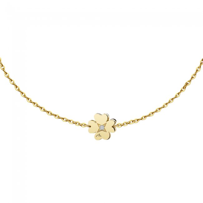 Bratara pe lant Trifoi S, din aur galben, cu diamant alb