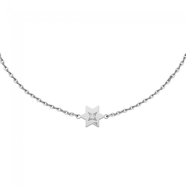 Bratara pe lant Stea S, din aur alb, cu diamant alb