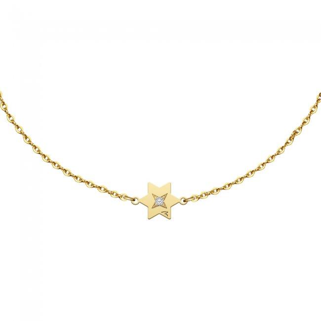Bratara pe lant Stea S, din aur galben, cu diamant alb