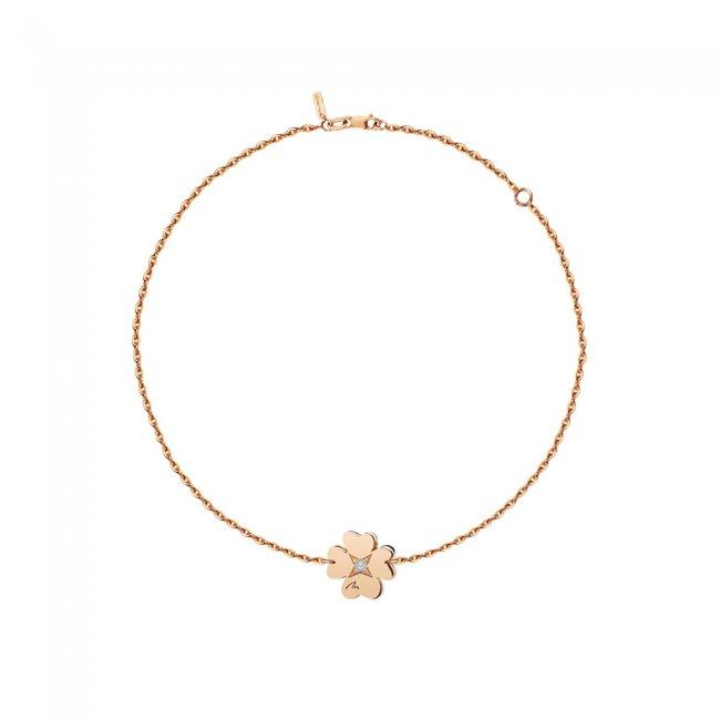 Bratara pe lant Trifoi S, din aur roz, cu diamant alb