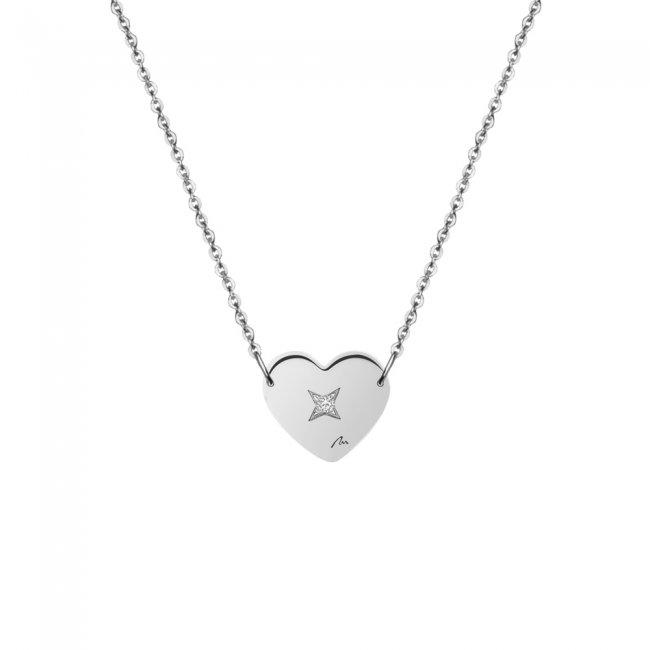 Lantisor Inima 7 mm, cu 1 diamant alb, din aur alb