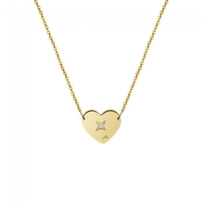 Lantisor inima 7 mm, cu 1 diamant alb, din aur galben