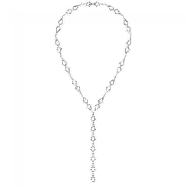 Colier Infinity Grace, din aur alb de 18 kt, cu diamante albe