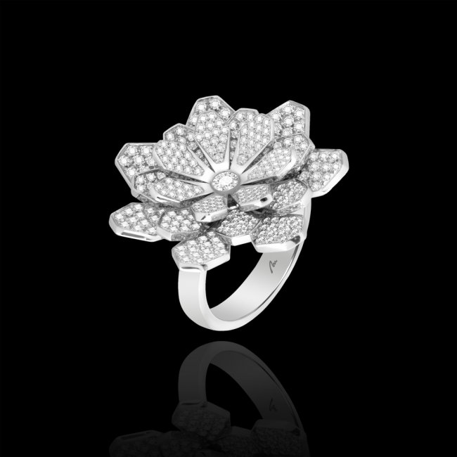 Inel Grace, din aur alb de 18 kt, cu diamante albe