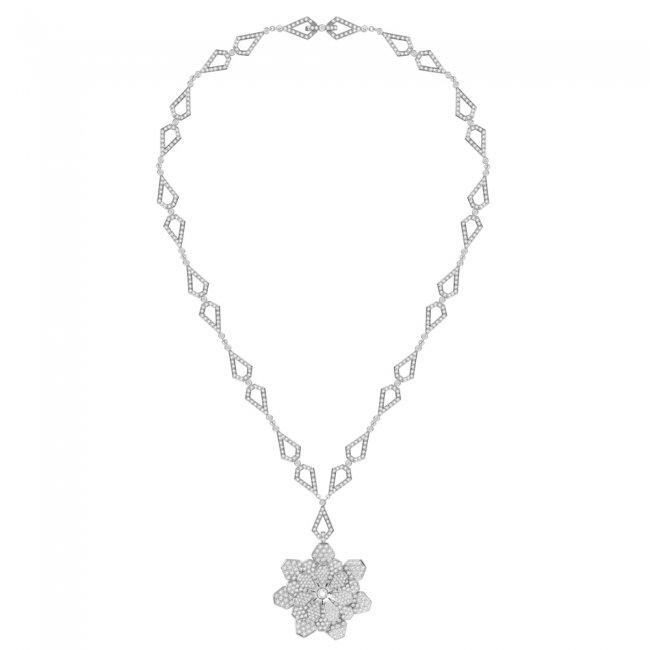Colier Infinity Flower Grace, din aur alb de 18 kt, cu diamante albe