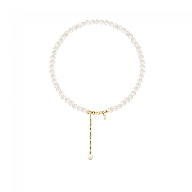 Bratara de glezna, cu perle de cultura de 3mm cu inchizatoare din aur galben