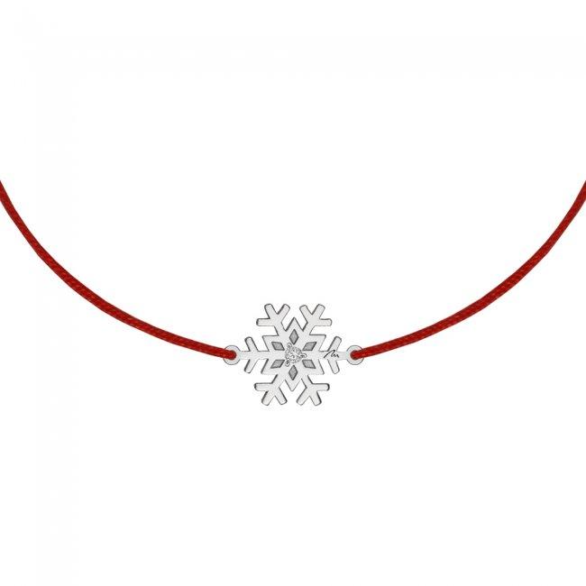 Bratara pe snur Fulg, din aur alb, cu diamant alb