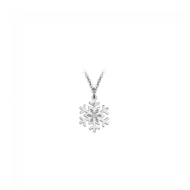 Pandantiv Fulg, din aur alb, cu diamant alb