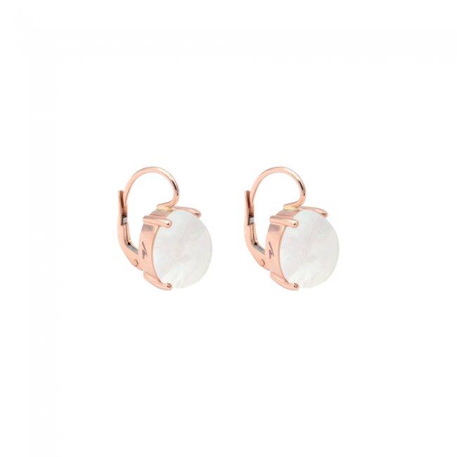 Cercei din aur roz de 18 kt cu piatra Mother of Pearls
