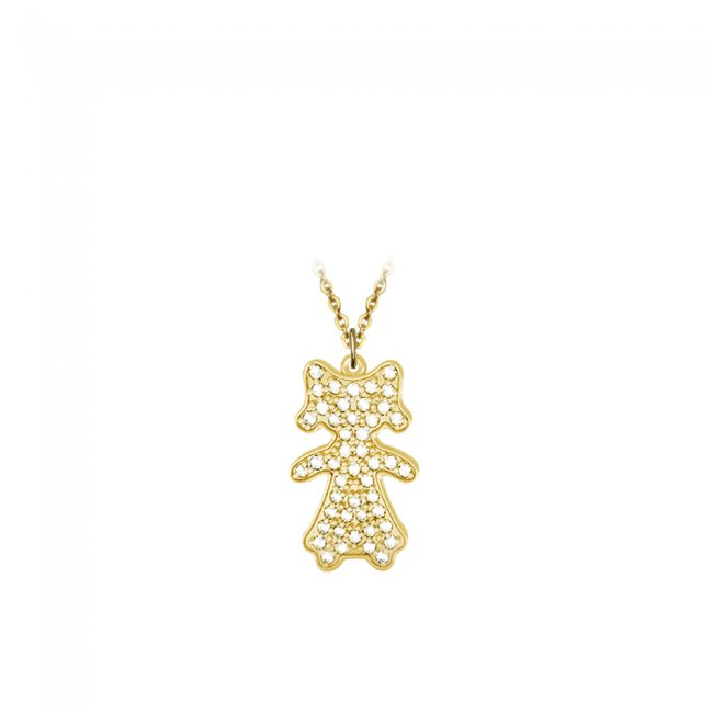 Pandant Fetita Pave, din aur galben, pavat cu diamante albe